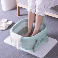 spa-fußbehandlungen groihandel-Faltbare Siiicone Foot-Becken beweglicher Spielraum Waschplatz Waschbecken Fußsack Buckets Foot Spa Massage Fußbehandlung GGA2804
