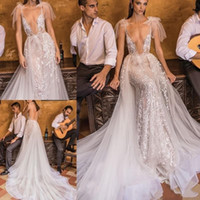Wholesale berta wedding dresses tulle for sale - Group buy 2020 New Sexy Berta Boho Mermaid Wedding Dresses with Overskirts Plunging V Neck Lace Applique Bohomian Tulle Wedding Bridal Gowns