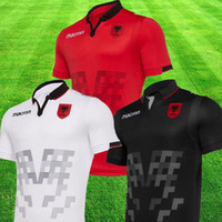 manga de futbol nacional al por mayor-2019 Albania camiseta color rojo 19 20 Albania White Camisetas de fútbol Negro Camisetas de manga corta camiseta nacional Camisetas de fútbol Uniforme de Albania