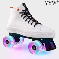Wholesale roller skates men resale online - White Canvas Roller Skates Patines With Pu Flashing Wheels Double Line Skates Women Men Lovers Adult Two Line Skating Shoes