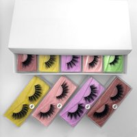 Wholesale under eyelashes resale online - 50Pairs D Synethic lashes Makeup faux cils full strip lashes colorful eyelash packaging box bulk vendors