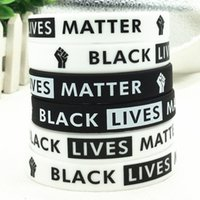 Hot Sale Black Lives Matter Silicone Wristband Black Silicone Rubber Bracelet & Bangles For Men Women Gifts