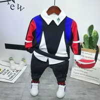 Wholesale cute boys jeans resale online - Baby Boy Clothes Boys Clothing set New Kids Fashion Cotton Cute Long sleeved Knit sweater white shirt jeans boy Sets