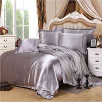 silber satiniert bettdecke groihandel-Silbergrau Satin Seide / Baumwolle Bettwäsche-Set 3 / 4ST Solid Color Bed Set weiche seidige Bettbezug Bettlaken Bedspread Königin King Size