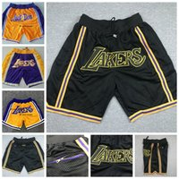 Wholesale thomas the train for sale - Group buy Just Mens Don LeBron James Los Angeles Lakers Stitched Professional Sport Basketball Shorts Gym Short Training Shorts