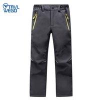 TRVLWEGO Ski Pants Hiking Camping Sports Winter Boy Girl Night Glow Waterproof Breathable Soft Shell Thick Snow Pants Kids