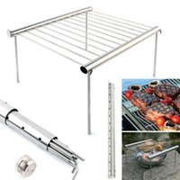 kat barbekü ızgarası toptan satış-Portable Stainless Steel BBQ Grill Folding Mini Pocket BBQ Grill Barbecue Accessories For Home Park Use