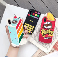 Wholesale apple cakes resale online - 3D Cartoon cake Cactus Ketchup soft silicone Phone Case Cases Cover For iPhone Pro XR XS Max X S Plus