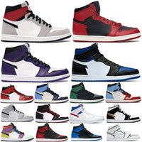 Wholesale Mens High OG basketball shoes s royal Chicago toe mid light smoke grey trainers Travis scotts UNC Patent banned women sports sneakers