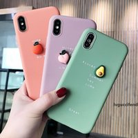 Wholesale peach iphone for sale – best Cute D fruit Orange peach Avocado macaron silicon Pink phone case for iphone X XR XS P MAX plus