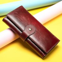 Wholesale ladies cell phone money wallets resale online - Women s Wallet Women Wallets Made Of Genuine Leather Female Long Wallet For Phone cards Money Bags Lady Wallets Purse