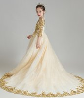 Wholesale champagne flower girls dresses for sale - Group buy Charming Champagne Gold Applique Flower Girls Dresses Girl s Brithday Dresses Girls Formal Dress Holiday Dresses Custom SZ DF705230
