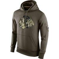 Wholesale blackhawks hoodies resale online - Chicago Blackhawks Men Sweatshirt Olive Salute To Service KO Performance ice hockey Hoodie