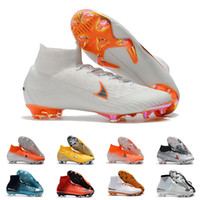 Wholesale cleats for soccer ronaldo for sale - Group buy Mens FG Cleats White Orange Superfly Elite Neymar High Ankle Outdoor Soccer Shoes Ronaldo CR7 Mercurial Football Crampons Boots for Male