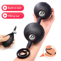 Wholesale anal plugs resale online - Inflatable Anal Beads Butt Plug With Double Cock Ring Penis Delay Anus expander Sex Toy For Woman