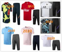 Wholesale mexico training suit resale online - Real Madrid short sleeve tracksuit Mexico America football training Paris short sleeve cropped pants soccer training suit