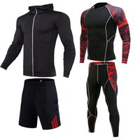 Wholesale running compression clothes resale online - Quick Dry Sport Suits Men s Running Compression Set Basketball Tights Sport Clothing Gym Fitness Underwear Tracksuit Sportswear