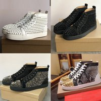 Wholesale spike rivet women flat shoes resale online - Red Bottom Fashion shoes high top rivets Casual Shoe Spikes Studded Black Red White Leather sneaker rivet Suede flat Men Women stylist shoe