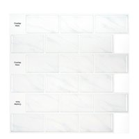 large self-adhesive tile sticker backsplash 3D wallpaper DIY kitchen bathroom decorative white waterproof wall tiles