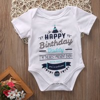 Wholesale romper birthday tutu for sale - Group buy DERMSPE Infant Newborn Baby Boy Girl Short Sleeve Letter Print Happy Birthday Daddy Romper Summer Baby Clothes Hot
