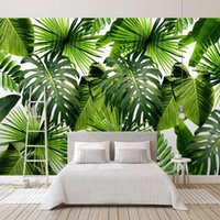 bananenblätter groihandel-Custom Photo Wallpaper For Walls 3D Banana Leaf Green Leaves Pastoral Wall Mural Modern Living Room Bedroom Waterproof Wallpaper