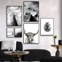 ingrosso immagini inverno-Stampa Scandinavian Winter Landscape Canvas Poster stile nordico Snow Mountain Forest Nature Wall Art pittura Pictures Home Decor