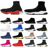 black platform slip on sneakers groihandel-Designer Socke Sportschuhe Speed Trainer Luxus Damen Herren Freizeitschuhe Tripler étoile Vintage Sneakers Socken Stiefel Plattform Chaussures