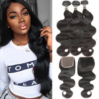 Wholesale unice hair resale online - Transparent Lace Frontal With Bundles Brazilian Body Wave x4 Remy Human Hair Bundle Lace Closure UNice Hair