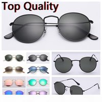 Wholesale orange accessories for men for sale - Group buy sunglasses round metal model top quality UV400 sun Glass lenses for men women with brown or black leather case cloth and all accessories