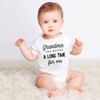 Wholesale d baby resale online - Newborn Funny Bodysuit Grandma Has Waited A Long Time for Me Print Infant Baby Boy Girl Cotton Short Sleeve Jumpsuit Outfit