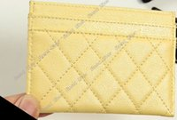 Wholesale yellow id cards for sale - Group buy Aber Women ID Card Holder Candy Color Bank Credit Genuine Cow Leather Slim Card Case designer purse gift box Multi Slot Slim Card Case