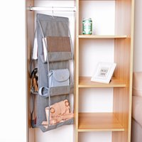 ingrosso tasche porta-Fashion 6 Pocket Foldable Hanging Bag Storage Organizer Transparent Storage Bag for Closet Shoes Door Wall Sundries Pouch HH9-1733