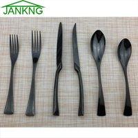 Wholesale jankng resale online - JANKNG Stainless Steel Dinnerware Serrated Sharp Steak Knife Tableware Set Colorful Cutlery Set Service For T200430