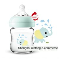 Wholesale native paintings resale online - General trade Philips new Anyi natural native wide glass bottle glass bottle caliber baby painted cartoon picture