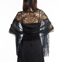 Wholesale evening shawls scarves for sale - Group buy Elegant Wedding Tassel Shawl Female New Pure Color Hollow Lace Party Bride Bridesmaid Mesh Yarn Temperament Evening Scarf