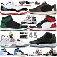 Wholesale With Box Jumpman Obsidian UNC s High Travis Scotts Black Cat s Men Basketball Shoes Low Bred Concord s Women Mens Sports Sneakers