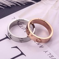 Wholesale titanium rings resale online - 2020 Hot Boutique Titanium Steel Nails Rings Lovers Band Rings For Women And Men Brand Jewelry With bag