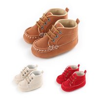 Wholesale red tube baby resale online - New baby male baby cotton solid color shoes sports tube newborn boy girl shoes infant soft bottom non slip toddler toddler