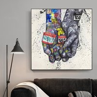 Wholesale street art painting frame resale online - Lover Hands Graffiti Art Posters and Prints on Canvas Painting Street Wall Art Picture for Living Room Home Decor No Frame