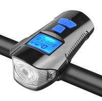 Wholesale display cycling bicycle for sale - Group buy USB Rechargeable Bicycle Headlight Bike Head Light Front Lamps Cycling with Horn dB LCD Digital Display Bicycle Accessories