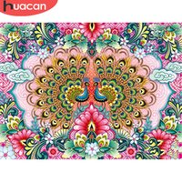 Wholesale peacock home decor canvas art for sale - Group buy HUACAN Full Square Diamond Painting Peacock Flowers D Round Diamond Art Embroidery Handmade Home Decor New Arrival