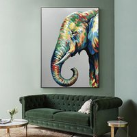 Wholesale floral watercolor paintings for sale - Group buy Abstract Watercolor Elephant Oil Painting Large Size Wild Animal Poster Prints Modern Wall Art Picture for Living Room Modern Home Decor