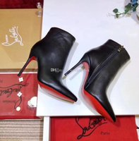 Wholesale high cut boots for sale - Group buy Original Box New Sexy Womens High Heels mm Boot Red Bottom Ankle Winter Real Leather Pumps Paris Boots Wedding Shoes Size DH