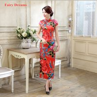 Wholesale apparel china for sale - Group buy Red Cheongsam Wedding Dress Plus Size Short Sleeve Flowers Print Chinese Dress For Women Vintage Robe China Exotic Apparel