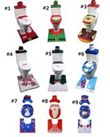 Wholesale radiators covers resale online - Santa Claus Cloth Toilet Seat Cover Toilet Foot Pad Cover Radiator Cap Cover Christmas Bathroom Decorations DWC396