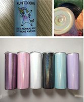 Wholesale rainbow cups resale online - sublimation oz rainbow Skinny Tumbler glitter tumbler Stainless Steel cups Straight cup Vacuum Insulated glitter Flask Beer Coffee mugs