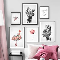 Wholesale black canvas white flower painting for sale - Group buy Flower Girl Bird Flamingo Wall Art Canvas Painting Black White Abstract Nordic Posters And Prints Wall Pictures For Living Room