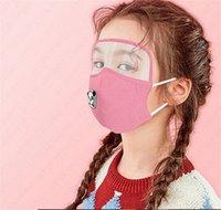 Wholesale Mask with breathing valve and transparent eye mask PM2 Children Masks boys girls kids Face Mask With Filter Pocket Solid Color D6811