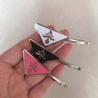 Wholesale hot clips for sale - Group buy Hot Metal Triangle Hair Clip with Stamp Women Girl Triangle Letter Barrettes Fashion Hair Accessories High Quality