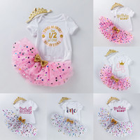 Wholesale romper birthday tutu resale online - INS Baby Tutu Dot Skirt letter print Romper Crown Headband set Girls Birthday Photography Dress Kids Princess Party Clothe M2449